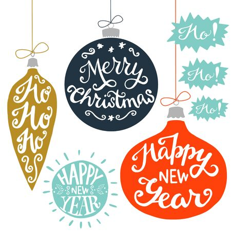 ho: Vintage Christmas baubles with Merry Christmas, Ho Ho Ho! and Happy New Year hand lettering. Set of holiday hand drawn card elements.