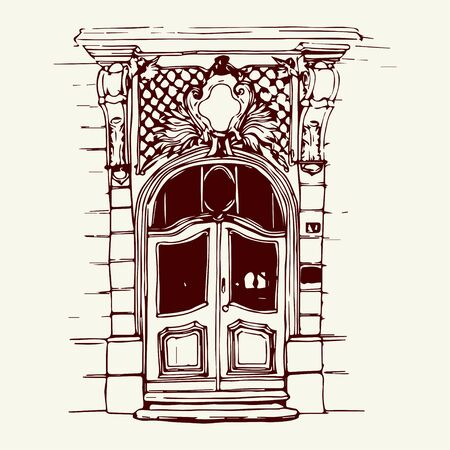 front porch: Vector illustration of the front door in old city center drawn in sketch style. Front porch in Belgrade, Serbia, Eastern Europe. Illustration