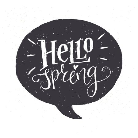 Black and white 'Hello Spring' lettering. Fun doodle style calligraphic headline in a black speech bubble.