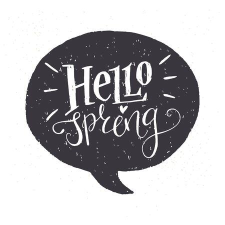 letras negras: negro y letras blancas 'Hola Primavera'. estilo de dibujo divertido título caligráfica en una burbuja del discurso negro.