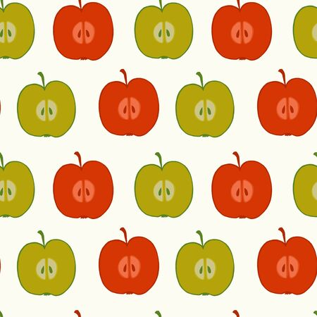 fruity: Seamless pattern made of doodle  halves of red and green apples. Fruity tiling background. Illustration