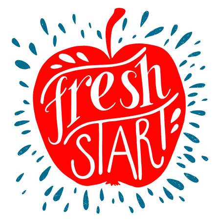 Colorful 'Fresh start' lettering motivational illustration. Red apple silhouette. Can be used as a print on t-shirts, bags, stationary and poster. Vector Illustration