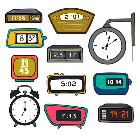 cartoon clock: bright and colorful vintage watches and alarm clocks, isolated on white background background. Illustration