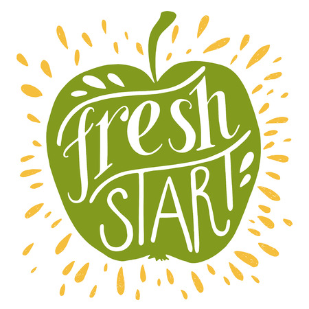 stationary: Colorful Fresh start lettering motivational illustration. Green apple silhouette. Can be used as a print on t-shirts, bags, stationary and poster.