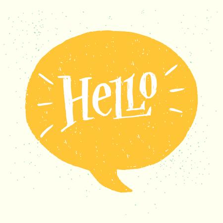 Hello hand lettering. Fun doodle style calligraphic headline in yellow speech bubble. Illustration