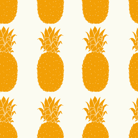 Seamless pattern with hand drawn pineapple on white background.