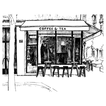 Freehand sketch with the view on the coffee shop window. Vector illustration of the small cafe on the street of old european town drawn in sketch style, isolated on white background. Belgrade, Serbia.