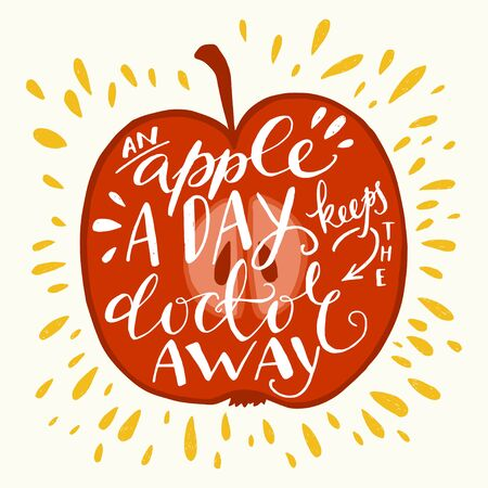 keeps: Colorful hand lettering illustration of An apple a day keeps the doctor away proverb. Motivational quote about health. Can be used as a print on t-shirts, bags, stationary and poster. Illustration