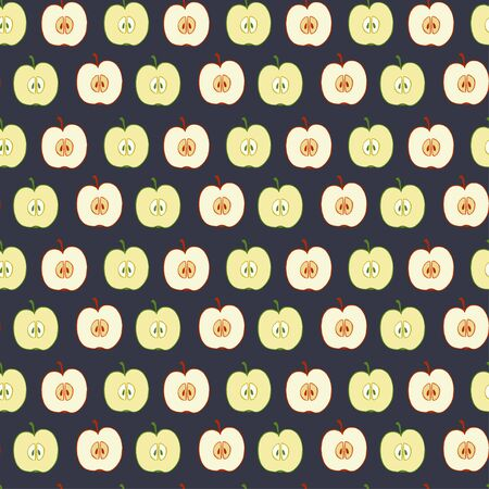 fruity: Seamless pattern made of doodle hand drawn halves of red and green apples. Fruity tiling background.