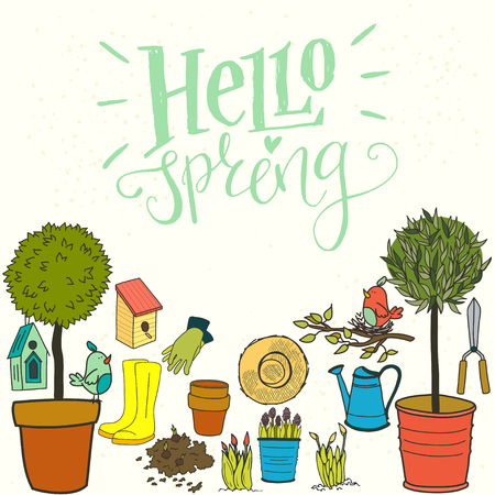 watering pot: Set of hand drawn garden tools, pot, ground, watering can, olive tree in a pot, straw hat, gloves, rubber boots and bird house. Hello spring hand lettering.