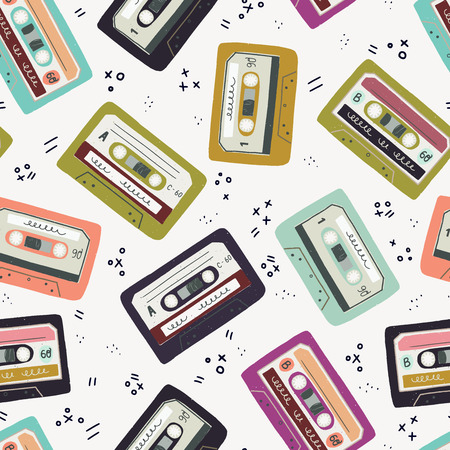 Seamless pattern with hand drawn cassette tapes. Old school tiling background with colorful cartoon mixtapes. 80s - 90s vector illustration. Фото со стока - 126852260