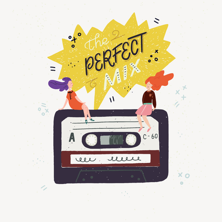 Cartoon style vector illustration with an old school cassette tape, small people sitting on it and The Perfect Mix handwritten phrase. Great design element for sticker, patch or poster. Фото со стока - 126852262