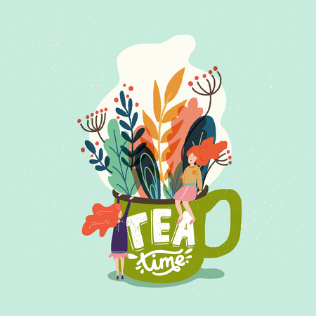 Cartoon style vector illustration with cup full of leaves, small people sitting on the brim and Tea Time handwritten phrase. Great design element for sticker, card, poster. Calm and peaceful drawing. Ilustrace