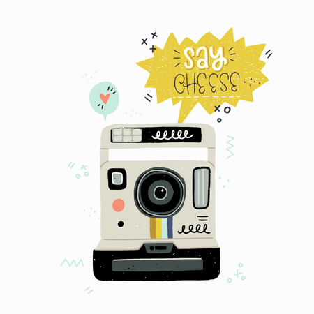Cartoon style vector illustration of the retro instant photo camera and Say Cheese hand lettering. Great design element for sticker, card or poster. 80s and 90s nostalgic drawing and inscription. Иллюстрация