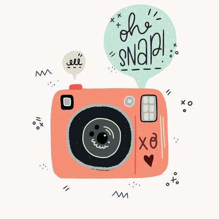 Cartoon style vector illustration of the photo camera and Oh Snap hand lettering phrase. Great design element for sticker, print or poster. Cute 90s nostalgic drawing and inscription.
