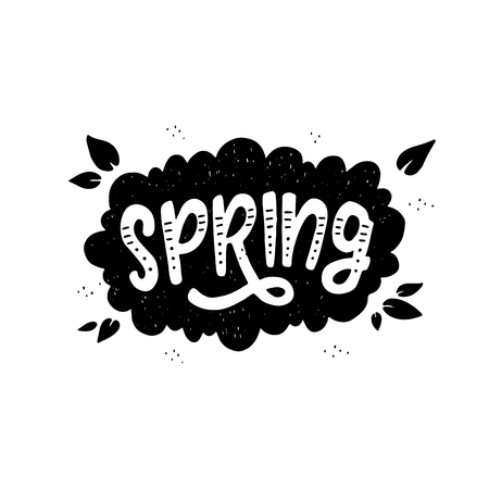 Black and white Spring inscription in cloud. Fun lettering style calligraphic headline. Monochrome vector drawing for shops, merchandise and digital and social media spring collections.