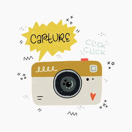 Cartoon style vector illustration of the photo camera, Capture and Click Click hand lettering. Great design element for sticker, card or poster. Cute 90s nostalgic drawing and inscription.