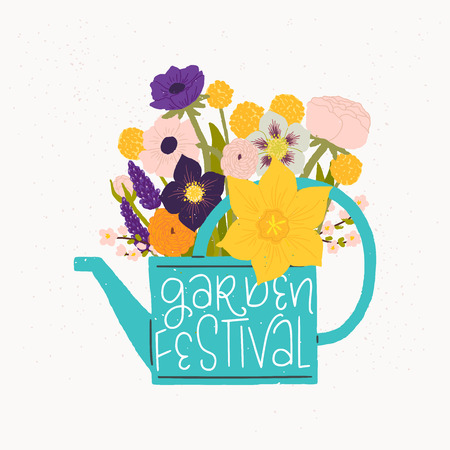 Cartoon style vector illustration of the watering can, bouquet of spring flowers and Garden Festival hand lettering. Great design for sticker, card, poster or merch. Rustic drawing and inscription.