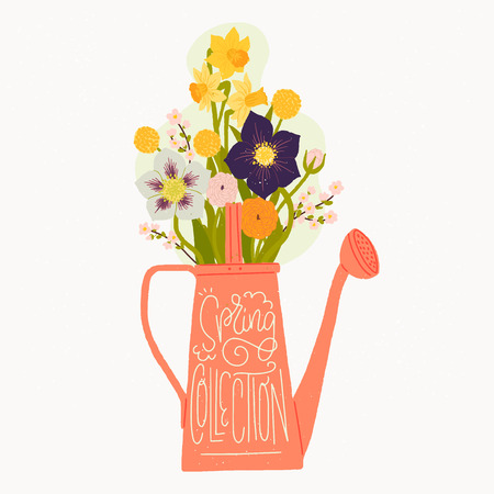 Cartoon style vector illustration of the watering can, bouquet of spring flowers and Spring Collection hand lettering. Great design for sticker, card, poster or merch. Rustic drawing and inscription.