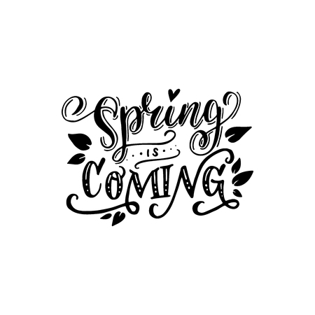 Black and white Spring Is Coming inscription. Fun lettering style calligraphic headline. Monochrome vector drawing for shops, merchandise and digital and social media spring collections.