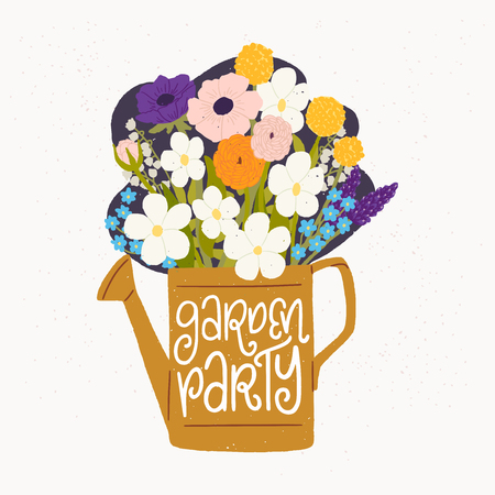 Cartoon style vector illustration of the watering can, bouquet of spring flowers and Garden Party hand lettering. Great design for sticker, card, poster or merch. Rustic drawing and inscription.