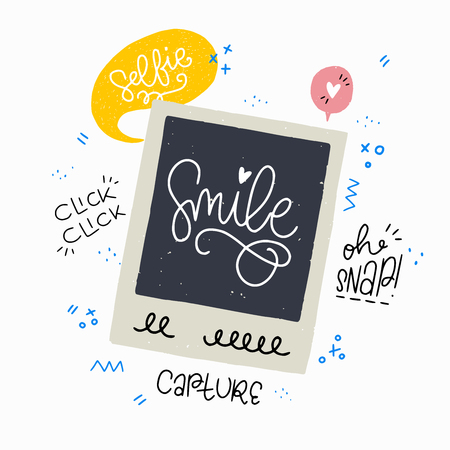 Cartoon style vector illustration with an old school instant photo frame and Smile, Oh Snap and other photo phrases. Great design element for sticker or apparel. Unique and fun drawing and inscription