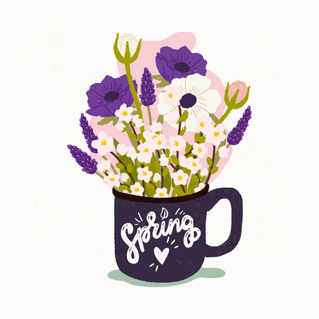 Spring calligraphic inscription. Flat style vector illustration of the cup with bouquet of spring flowers. Postcard, wedding invitation, poster and merch design with handdrawn lettering. Иллюстрация