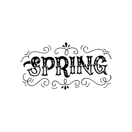 Black and white vintage style Spring inscription. Classic ornate lettering headline. Monochrome vector drawing for shops, merchandise and digital and social media spring collections.