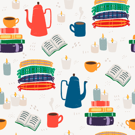 Cozy indoor time at home hand drawn color vector seamless pattern. Hot chocolate, books, plaid wraps and candles texture. Textured flay style wrapping paper, textile or blog wallpaper. Иллюстрация