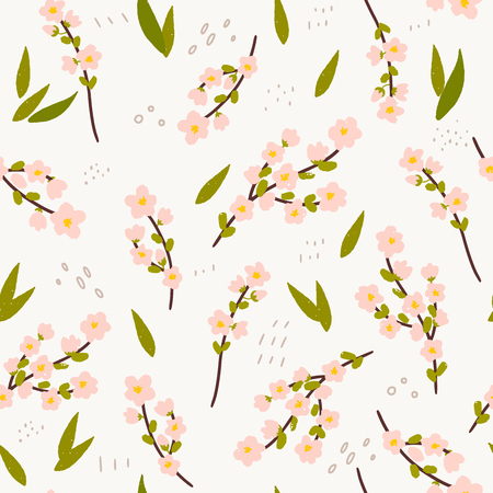 Floral seamless pattern made of hand drawn blossom branches of sakura. Spring background with cherry flowers. Sketch wrapping paper, textile, wallpaper for the blog. Vector illustration. Иллюстрация