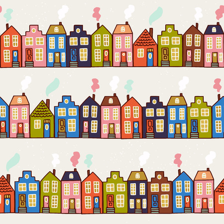 Cute seamless pattern made of hand drawn old European houses. Street in a sweet homey town . Sketch wrapping paper, textile, wallpaper. Vector illustration.