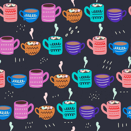 Cute seamless pattern made of hand drawn tea cups and coffee mugs. Hot beverages, chocolate with marshmallows. Sketch wrapping paper, textile, wallpaper for the coffee shop blog. Vector illustration. Иллюстрация