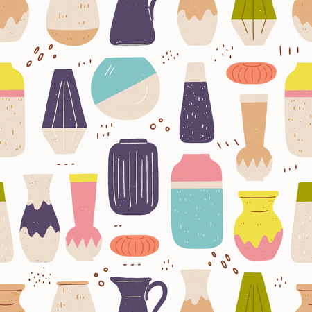 Seamless pattern made of handmade ceramic vases. Hand crafted pottery flat style texture. Hand drawn wrapping paper, textile, wallpaper for house decor shop or pottery school blog. Vector illustration