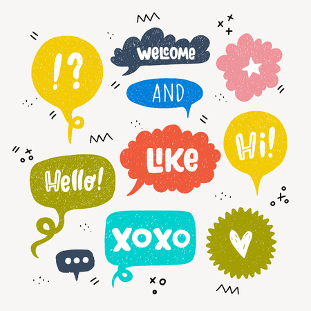 Big set of hand drawn speech bubbles isolated on white background. doodle cartoon style colorful comic bubbles.