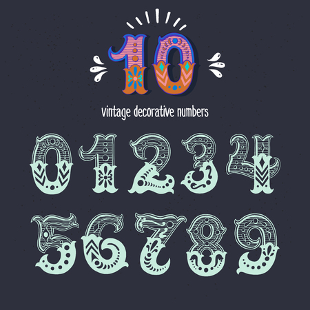 Set of vintage ornate circus style numbers. Hand drawn decorative numerals for birthday invitations, cards, prints, posters, wedding table cards and apparel. Иллюстрация