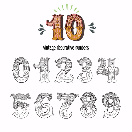 Set of vintage ornate circus style numbers. Hand drawn decorative numerals for birthday invitations, announcement cards, prints, posters, wedding table cards and apparel. Иллюстрация