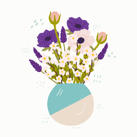 Flat style vector illustration of ceramic vase with bouquet of spring flowers. Hand drawn anemones and cherry blossom. Postcard, wedding invitation, birthday greeting card, poster and merch design. Иллюстрация