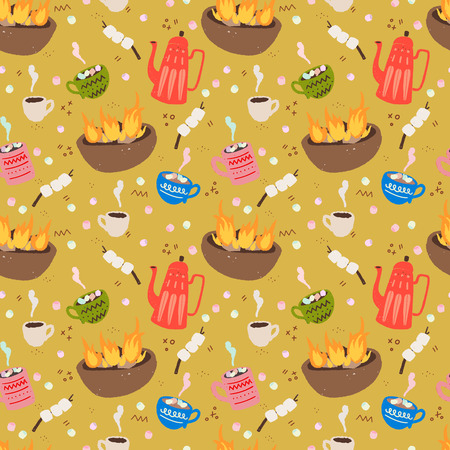 Cozy and fun outdoor time hand drawn vector seamless pattern. Hot chocolate, campfire, marshmallows and hot drinks at the camp. Travel flat style wrapping paper, textile or blog wallpaper. Иллюстрация