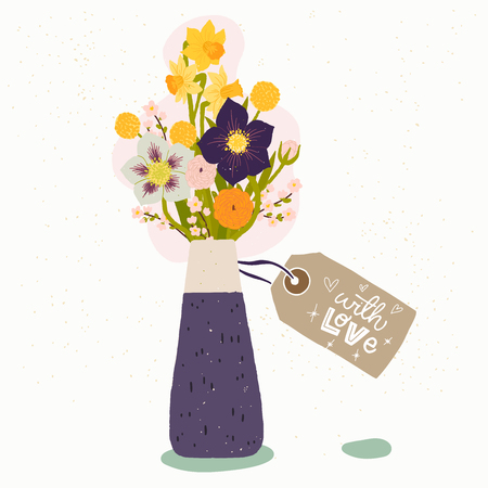 Flat style vector illustration of ceramic vase with bouquet of spring flowers and gift tag with handwritten With Love phrase. Wedding invitation, Valentine or birthday greeting card, poster design.