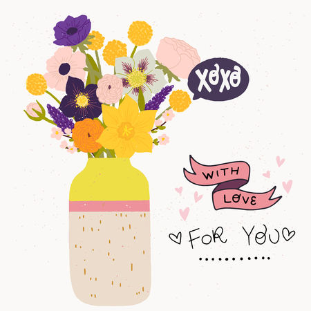 Flat style vector illustration of ceramic vase with bouquet of spring flowers. Handwritten With Love, For You and XO X O. Wedding invitation, Valentine or birthday greeting card, poster design.