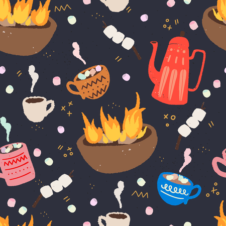 Cozy and fun outdoor time hand drawn vector seamless pattern. Hot chocolate, campfire, marshmallows and hot drinks at the camp. Travel flat style wrapping paper, textile or blog wallpaper.