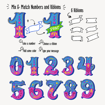 Set of vintage ornate circus style numbers and ribbon banners for text. Hand drawn decorative numerals for birthday invitations, announcement cards, prints, posters, wedding table cards and apparel.