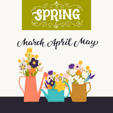 Spring colorful flower bouquets in watering cans with March April May calligraphy hand lettering on white background. Illustration for greeting cards, invitations and printing projects. Vector image Иллюстрация