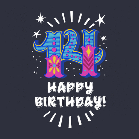 Birthday card for teenager. Hand drawn typography poster, greeting card or print invitation with vintage ornate circus style number 14 and Happy Birthday hand lettering. Vector illustration.