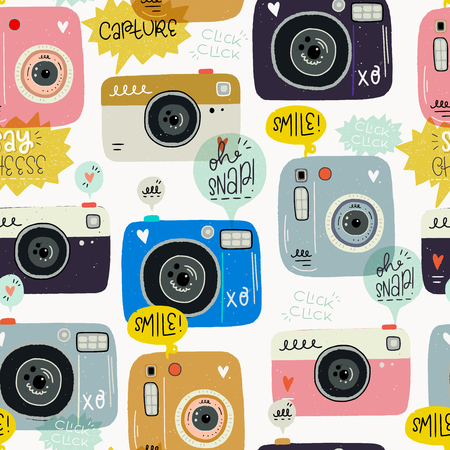 Hipster style seamless pattern made of hand drawn photo cameras and photography words. Cute 80s 90s nostalgic background and inscription. Flat wrapping paper, textile, wallpaper. Vector illustration