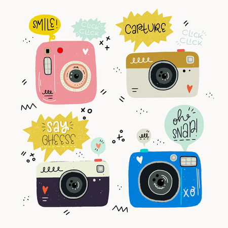 Hipster style vector illustration of hand drawn photo cameras and photography words. Cute 80s 90s nostalgic set and inscription. Great design elements for sticker, blog, print or poster. Иллюстрация