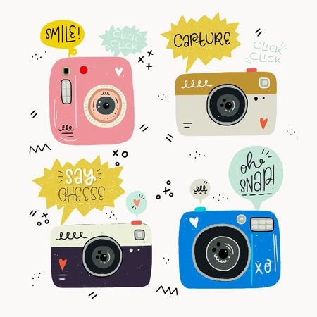 Ilustración de vector de estilo hipster de cámaras de fotos dibujadas a mano y palabras de fotografía. Lindo conjunto nostálgico de los años 80 y 90 e inscripción. Grandes elementos de diseño para pegatinas, blogs, impresiones o carteles.