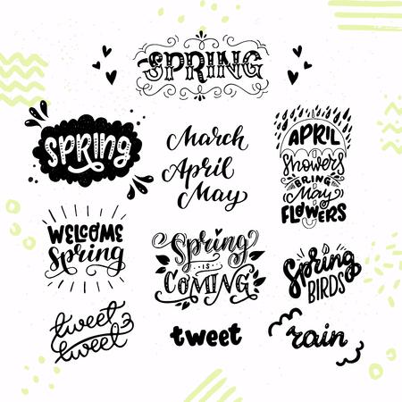 Ensemble de textes et de phrases inspirants pour le lettrage à la main au printemps. Accueillant et en attente de mars, avril, mai, des oiseaux twittant, des averses et des pluies. Collection d'autocollants mignon et confortable. Illustration vectorielle.