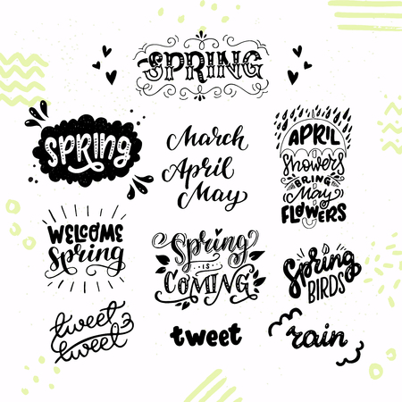 Set of inspirational spring hand lettering texts and phrases. Welcoming and awaiting for March, April, May, twitting birds, showers and rains. Cute and cozy sticker collection. Vector illustration. Иллюстрация