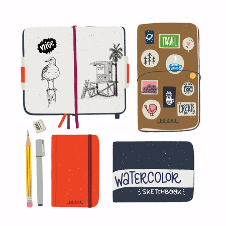Set of hand drawn sketchbooks. Flat style notebooks for artists. Art book, travel journal in a cover with stickers, spread with sketches, liner, pencil and eraser. Vector illustration.
